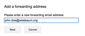 Enter forwarding email